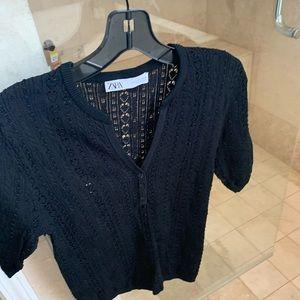 Zara Pointelle Knit Sweater, Size L